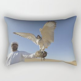 Falconer With Hooded Falcon In The Desert Rectangular Pillow