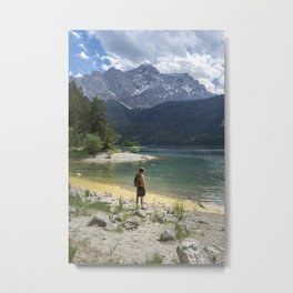Person standing on the beach of the Eibsee lake in Germany surrounded by the mountains Metal Print