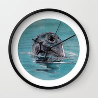 seal Wall Clocks featuring seal by ARTito
