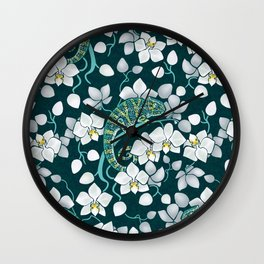 Chameleons and orchids Wall Clock