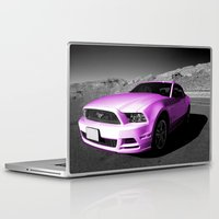 mustang Laptop & iPad Skins featuring Pink Mustang  by Rob Hawkins Photography