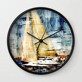 mixed  media sailboat Wall Clock