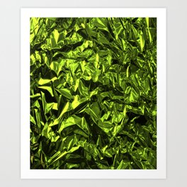 Crinkled Green Wrapping Paper Art Print