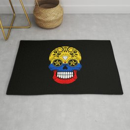 Sugar Skull with Roses and Flag of Colombia Rug