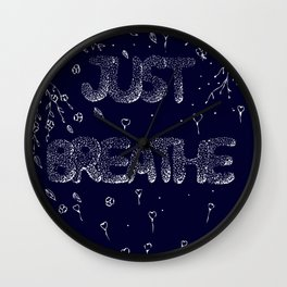Just Breathe Doodle Quote Wall Clock