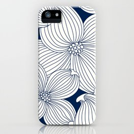Dogwood Big Linear Floral: Navy Ivory iPhone Case