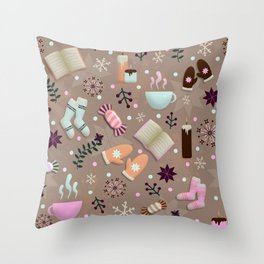 Cozy Danish Winter Hygge Throw Pillow