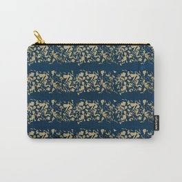 Abstract navy blue watercolor gold color stripes Carry-All Pouch