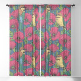 Bee eaters and poppies Sheer Curtain