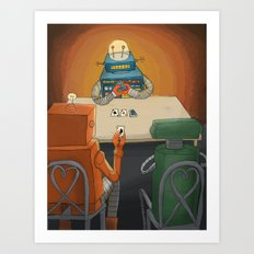 robot in trouble Art Print