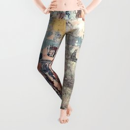 Mirage [1]: a vibrant abstract piece in pinks blues and gold by Alyssa Hamilton Art Leggings