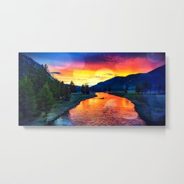 Sunset at Yellowstone Metal Print