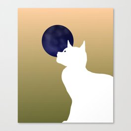 Moon and white cat Canvas Print