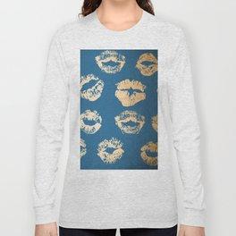 Metallic Gold Lips in Orange Sherbet and Saltwater Taffy Teal Shimmer Long Sleeve T-shirt