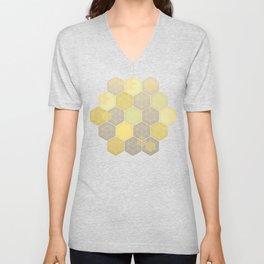 Lemon & Grey Honeycomb Unisex V-Neck