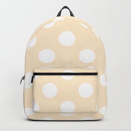 Blanched almond - pink - White Polka Dots - Pois Pattern Backpack