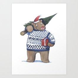 Bear with new year tree Art Print