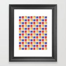 Three Colors Cube Geometry Pattern Framed Art Print