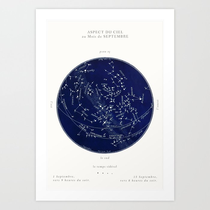 Star Map Android.French September Star Map In Deep Navy Black Astronomy