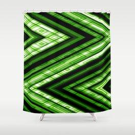 Zig Zag Pattern green Shower Curtain