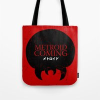 metroid Tote Bags featuring House Metroid by Alecxps