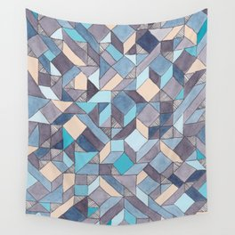 Shifitng Geometric Pattern in Blue Wall Tapestry