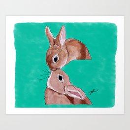 Rabbit Kisses Art Print