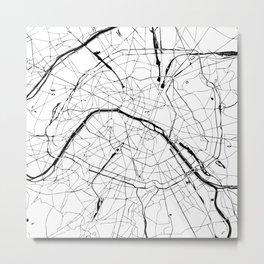 Paris France Minimal Street Map - Black and White Metal Print
