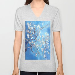 Vincent Van Gogh Almond Blossoms. Sky Blue Unisex V-Neck