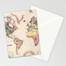 Vintage Geological Map of The World (1856) Stationery Cards