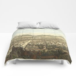 Vintage Pictorial Map of Orizaba Mexico (1869) Comforters