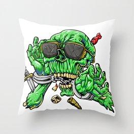handcuffed zombie cartoon Throw Pillow