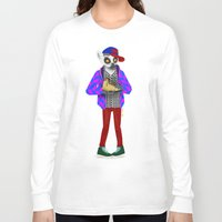 sneaker Long Sleeve T-shirts featuring Sneaker Lemur by Dyna Moe