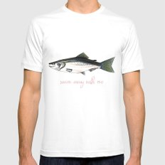Swim Away With Me Mens Fitted Tee MEDIUM White