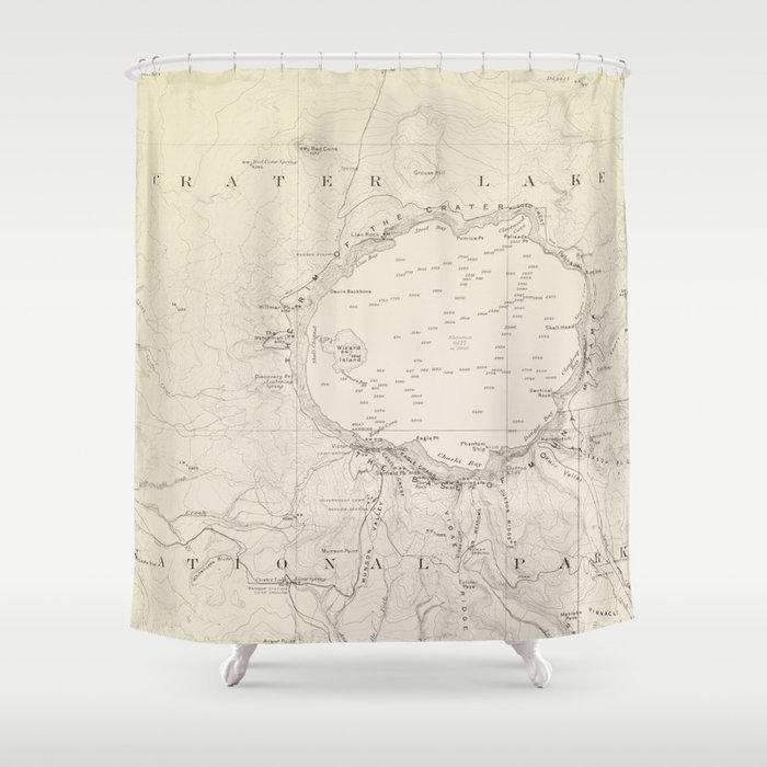 Crater Lake Vintage Map Shower Curtain By Mapmaker