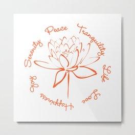 Lotus Calligraphy Text (Orange) Metal Print