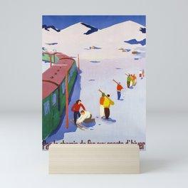 old poster par le chemin de fer aux sports dhiver cff sbb Mini Art Print