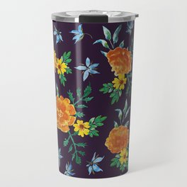 Dark Floral: Marigolds and Borage Travel Mug