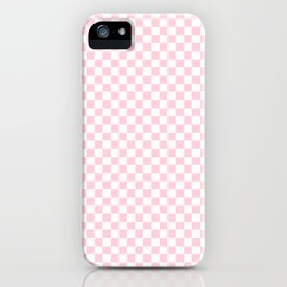 Light Soft Pastel Pink and White Checkerboard iPhone Case