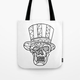 Skull Uncle Sam Black and White Mosaic Tote Bag