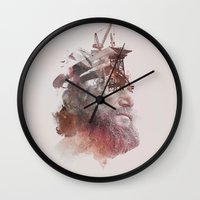 tyler the creator Wall Clocks featuring The Creator by Robert Farkas