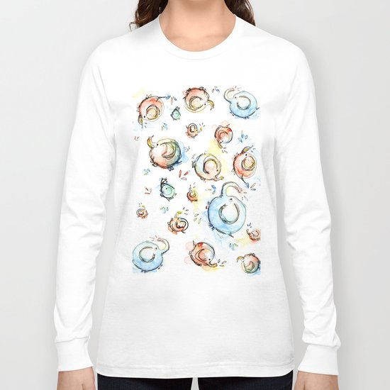 Elephants Pattern Watercolor Whimsical Animals Long Sleeve T-shirt