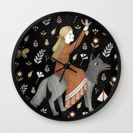dark wolf warrior Wall Clock