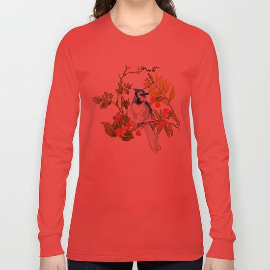 Bluejay Bird Day Floral Long Sleeve T-shirt