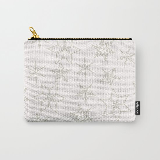 Beige Snowflakes on white background Carry-All Pouch