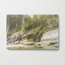 Waterfall Into The Ocean Metal Print