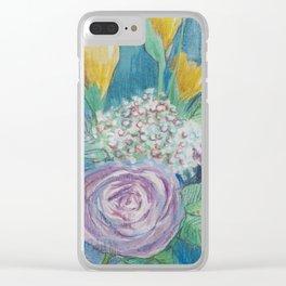Cottage Rose Bouquet Clear iPhone Case