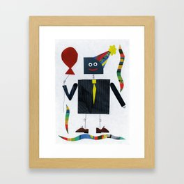 Pin-Striped Robot Framed Art Print