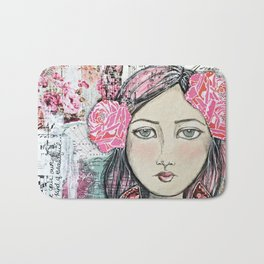 Be Your Own Kind of Beautiful Mixed Media Girl Bath Mat