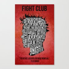 Typography Tyler Durden Uncensored Canvas Print